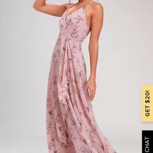 Lulus ROMANCE ABOUND MAUVE PINK FLORAL MAXI DRESS